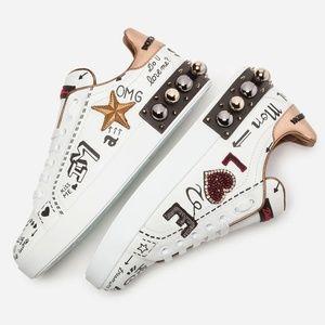 NIB DOLCE & GABBANA Portofino Leather Sneakers